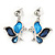 Romantic Glass, Crystal Blue Butterfly V Shape Necklace & Drop Earrings In Silver Tone Metal - 40cm L/ 8cm Ext - Gift Boxed - view 7