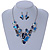Romantic Glass, Crystal Blue Butterfly V Shape Necklace & Drop Earrings In Silver Tone Metal - 40cm L/ 8cm Ext - Gift Boxed - view 3