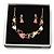 Romantic Matt Beige/ Orange Heart Necklace &  Drop Earrings In Rose Gold Metal - 39cm L/ 7cm Ext - Gift Boxed - view 2