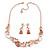Romantic Matt Beige/ Orange Heart Necklace &  Drop Earrings In Rose Gold Metal - 39cm L/ 7cm Ext - Gift Boxed - view 3
