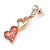 Romantic Matt Beige/ Orange Heart Necklace &  Drop Earrings In Rose Gold Metal - 39cm L/ 7cm Ext - Gift Boxed - view 6