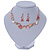 Romantic Matt Beige/ Orange Heart Necklace &  Drop Earrings In Rose Gold Metal - 39cm L/ 7cm Ext - Gift Boxed - view 7