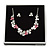Romantic Grey/ White/ Raspberry Matt Enamel Floral Necklace & Stud Earrings In Rhodium Plated Metal - 40cm L/ 8cm Ext - Gift Boxed - view 4