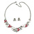 Romantic Grey/ White/ Raspberry Matt Enamel Floral Necklace & Stud Earrings In Rhodium Plated Metal - 40cm L/ 8cm Ext - Gift Boxed - view 5
