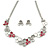 Romantic Grey/ White/ Raspberry Matt Enamel Floral Necklace & Stud Earrings In Rhodium Plated Metal - 40cm L/ 8cm Ext - Gift Boxed
