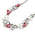 Romantic Grey/ White/ Raspberry Matt Enamel Floral Necklace & Stud Earrings In Rhodium Plated Metal - 40cm L/ 8cm Ext - Gift Boxed - view 8