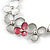 Romantic Grey/ White/ Raspberry Matt Enamel Floral Necklace & Stud Earrings In Rhodium Plated Metal - 40cm L/ 8cm Ext - Gift Boxed - view 6
