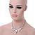 Romantic White Matt Enamel 3D Floral Necklace & Stud Earrings In Rhodium Plating - 40cm L/ 8cm Ext - Gift Boxed - view 2