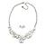 Romantic White Matt Enamel 3D Floral Necklace & Stud Earrings In Rhodium Plating - 40cm L/ 8cm Ext - Gift Boxed - view 7