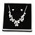 Romantic White Matt Enamel 3D Floral Necklace & Stud Earrings In Rhodium Plating - 40cm L/ 8cm Ext - Gift Boxed - view 4