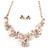 Romantic Pastel Pink/ Beige Matt Enamel 3D Floral Necklace & Stud Earrings In Rose Gold Metal - 40cm L/ 8cm Ext - Gift Boxed