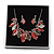 Stunning Enamel, Crystal Multi Leaf Necklace and Drop Earrings Set In Rhodium Plating (Grey/ Red) - 40cm L/ 6cm Ext - Gift Boxed - view 4