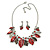 Stunning Enamel, Crystal Multi Leaf Necklace and Drop Earrings Set In Rhodium Plating (Grey/ Red) - 40cm L/ 6cm Ext - Gift Boxed - view 5