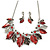 Stunning Enamel, Crystal Multi Leaf Necklace and Drop Earrings Set In Rhodium Plating (Grey/ Red) - 40cm L/ 6cm Ext - Gift Boxed