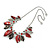 Stunning Enamel, Crystal Multi Leaf Necklace and Drop Earrings Set In Rhodium Plating (Grey/ Red) - 40cm L/ 6cm Ext - Gift Boxed - view 9
