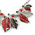 Stunning Enamel, Crystal Multi Leaf Necklace and Drop Earrings Set In Rhodium Plating (Grey/ Red) - 40cm L/ 6cm Ext - Gift Boxed - view 7