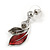 Stunning Enamel, Crystal Multi Leaf Necklace and Drop Earrings Set In Rhodium Plating (Grey/ Red) - 40cm L/ 6cm Ext - Gift Boxed - view 13