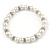 7mm White Faux Pearl Glass Bead with Crystal Rings Necklace, Flex Bracelet & Drop Earrings Set In Silver Plating - 40cm L/ 5cm Ext - view 7
