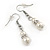 7mm White Faux Pearl Glass Bead with Crystal Rings Necklace, Flex Bracelet & Drop Earrings Set In Silver Plating - 40cm L/ 5cm Ext - view 8