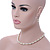 7mm White Faux Pearl Glass Bead with Crystal Rings Necklace, Flex Bracelet & Drop Earrings Set In Silver Plating - 40cm L/ 5cm Ext - view 3