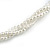3 Strand Faux Pearl and Clear Glass Bead Twisted Necklace & Bracelet Set In Silver Tone - 40cm L/ 5cm Ext - view 4