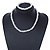 3 Strand Faux Pearl and Clear Glass Bead Twisted Necklace & Bracelet Set In Silver Tone - 40cm L/ 5cm Ext - view 2