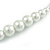 White Graduated Glass Faux Pearl Necklace & Drop Earrings Set In Silver Plating - 44cm L/ 4cm Ext - view 3