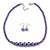 Purple Graduated Glass Bead Necklace & Drop Earrings Set In Silver Plating - 44cm L/ 4cm Ext