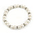 5mm, 7mm White Faux Pearl Glass/ Crystal Bead Necklace, Flex Bracelet & Drop Earrings Set In Silver Plating - 42cm L/ 5cm Ext - view 8