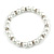 5mm, 7mm White Faux Glass Pearl/Crystal Bead Necklace, Flex Bracelet & Drop Earrings Set In Silver Plating - 42cm L/ 5cm Ext - view 4
