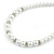 5mm, 7mm White Faux Glass Pearl/Crystal Bead Necklace, Flex Bracelet & Drop Earrings Set In Silver Plating - 42cm L/ 5cm Ext - view 5