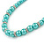 5mm, 7mm Aqua/ Cyan Glass/ Crystal Bead Necklace, Flex Bracelet & Drop Earrings Set In Silver Plating - 42cm L/ 5cm Ext - view 4