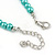 5mm, 7mm Aqua/ Cyan Glass/ Crystal Bead Necklace, Flex Bracelet & Drop Earrings Set In Silver Plating - 42cm L/ 5cm Ext - view 5