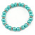5mm, 7mm Aqua/ Cyan Glass/ Crystal Bead Necklace, Flex Bracelet & Drop Earrings Set In Silver Plating - 42cm L/ 5cm Ext - view 9