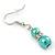 5mm, 7mm Aqua/ Cyan Glass/ Crystal Bead Necklace, Flex Bracelet & Drop Earrings Set In Silver Plating - 42cm L/ 5cm Ext - view 10