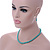 5mm, 7mm Aqua/ Cyan Glass/ Crystal Bead Necklace, Flex Bracelet & Drop Earrings Set In Silver Plating - 42cm L/ 5cm Ext - view 3