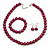 12mm Cranberry Red Glass Bead Necklace, Flex Bracelet & Drop Earrings Set In Silver Plating - 46cm L/ 5cm Ext