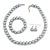 12mm Grey Glass Bead Necklace, Flex Bracelet & Drop Earrings Set In Silver Plating - 46cm L/ 5cm Ext