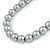 12mm Grey Glass Bead Necklace, Flex Bracelet & Drop Earrings Set In Silver Plating - 46cm L/ 5cm Ext - view 4