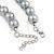 12mm Grey Glass Bead Necklace, Flex Bracelet & Drop Earrings Set In Silver Plating - 46cm L/ 5cm Ext - view 6