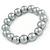 12mm Grey Glass Bead Necklace, Flex Bracelet & Drop Earrings Set In Silver Plating - 46cm L/ 5cm Ext - view 8