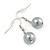 12mm Grey Glass Bead Necklace, Flex Bracelet & Drop Earrings Set In Silver Plating - 46cm L/ 5cm Ext - view 9