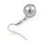 12mm Grey Glass Bead Necklace, Flex Bracelet & Drop Earrings Set In Silver Plating - 46cm L/ 5cm Ext - view 10