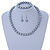 12mm Grey Glass Bead Necklace, Flex Bracelet & Drop Earrings Set In Silver Plating - 46cm L/ 5cm Ext - view 2