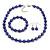 10mm Deep Purple Glass Bead Necklace, Flex Bracelet & Drop Earrings Set In Silver Plating - 42cm L/ 5cm Ext