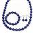 10mm Deep Purple Glass Bead Necklace, Flex Bracelet & Drop Earrings Set In Silver Plating - 42cm L/ 5cm Ext - view 10