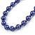 10mm Deep Purple Glass Bead Necklace, Flex Bracelet & Drop Earrings Set In Silver Plating - 42cm L/ 5cm Ext - view 5