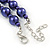 10mm Deep Purple Glass Bead Necklace, Flex Bracelet & Drop Earrings Set In Silver Plating - 42cm L/ 5cm Ext - view 6