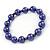 10mm Deep Purple Glass Bead Necklace, Flex Bracelet & Drop Earrings Set In Silver Plating - 42cm L/ 5cm Ext - view 8