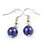 10mm Deep Purple Glass Bead Necklace, Flex Bracelet & Drop Earrings Set In Silver Plating - 42cm L/ 5cm Ext - view 9